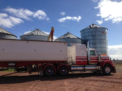 grain silos and truck